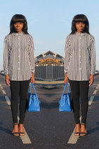 black Topshop leggings - blue Vanilla Paris bag - white H&M top
