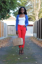beige other bag - red H&M pants - white Primark top - green Primark heels