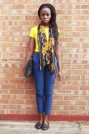 vintage scarf - Topshop shoes - Zara bag - Topshop pants - American Apparel top