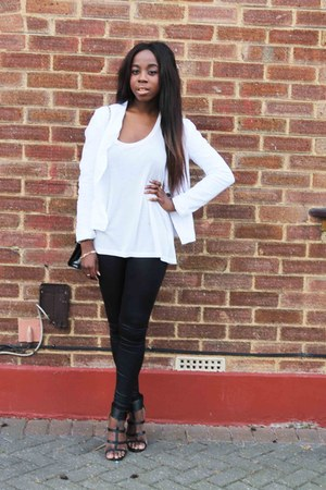 white other blazer - black Topshop leggings - black Liberty bag