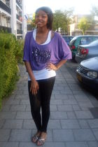 white top - purple shirt - black leggings - black shoes