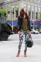 light purple H&M leggings - brown Michael Kors boots - black Forever 21 jacket