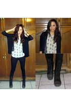 black Forever 21 boots - heather gray Forever New blouse