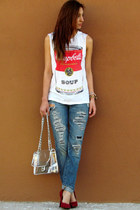white Forever 21 shirt - hollister jeans - Forever 21 bag