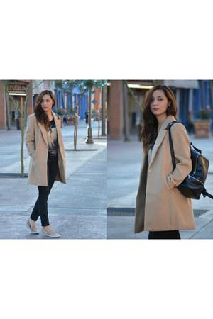 brown Forever 21 coat - black Levis jeans - Forever 21 shirt - Forever 21 bag