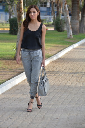 silver Michael Kors bag - black Love 21 top - heather gray Forever 21 pants