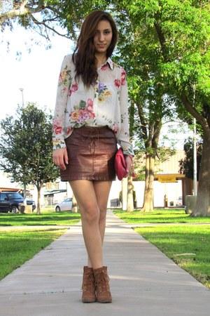 hot pink Forever 21 blouse - burnt orange Michael Kors boots