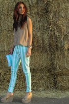 white Victorias Secret bag - aquamarine Forever 21 jeans