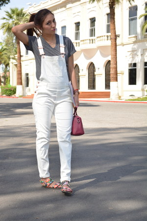 white H&M romper - maroon coach bag - charcoal gray h&m divided t-shirt