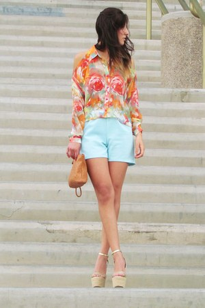 Forever 21 blouse - DIY shorts - H&M accessories - Forever 21 sandals