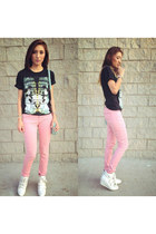 black 21 mens shirt - pink Forever 21 pants - ivory Forever 21 sneakers