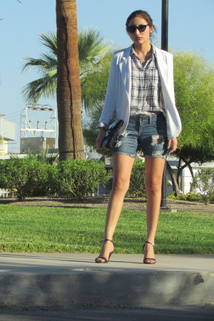 white Forever 21 blazer - heather gray Forever 21 shirt - Cole Haan sunglasses