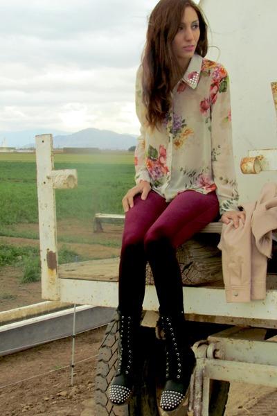 beige Forever 21 blouse - black Forever 21 boots - crimson Forever 21 leggings