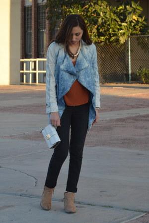 camel Forever 21 boots - black Levis jeans - sky blue Forever 21 jacket