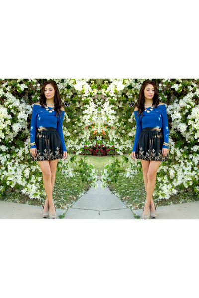 blue Forever 21 sweater - Forever 21 skirt - Local store heels