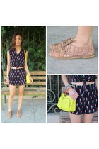 yellow Forever 21 bag - black Forever 21 jumper - brown Forever 21 flats