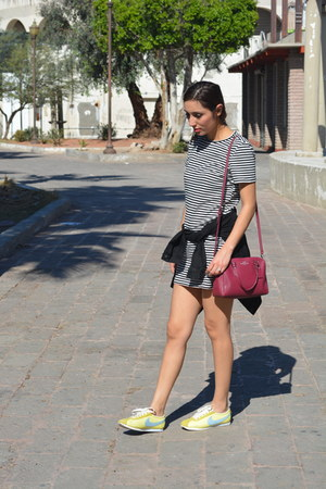 white Forever 21 dress - black Levis jacket - maroon coach bag