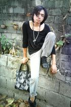 black top - Peace Angel pants - black shoes - vivienne westwood - accessories