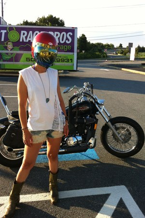 green Accessorize boots - Accessorize shorts - white t-shirt - blue necklace