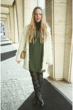 black Forever 21 boots - green Zara dress - white Miss KL coat
