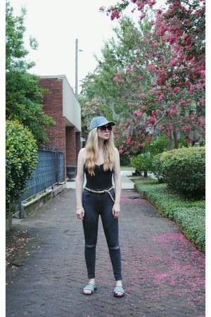 black Forever 21 jeans - black Adidas sandals