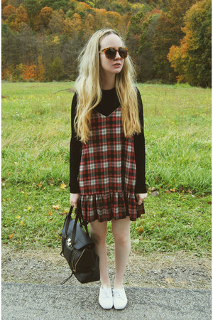 black Zara shirt - white Keds shoes - brick red lulus dress