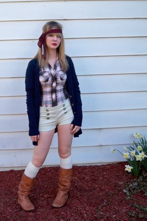 brown H&M shirt - green Forever 21 shorts - blue hollister sweater - white Ameri