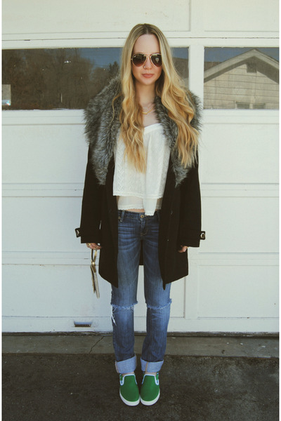 black Boohoo coat - green bucketfeet shoes - ivory lulus shirt
