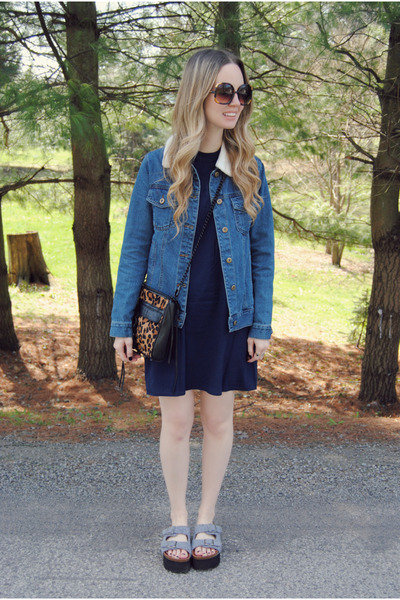 navy Tobi dress - blue Forever 21 jacket - burnt orange Rebecca Minkoff bag