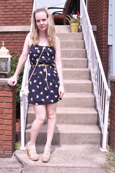 blue Nasty Gal dress - beige Steve Madden shoes - beige Forever 21 belt - beige