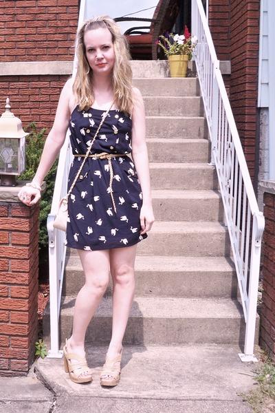 blue Nasty Gal dress - beige Steve Madden shoes - beige Forever 21 belt - beige