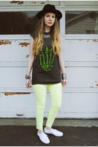 lime green gifted J Brand jeans - black gypsy warrior hat - gray UNIF shirt