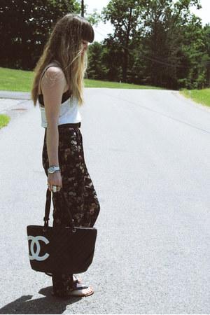 off white Forever 21 shirt - black Chanel bag - black Payless sandals - navy vin