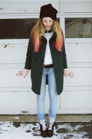 teal gifted She Inside coat - black Jeffrey Campbell shoes