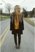 black Steve Madden wedges - black Boohoo coat - gold vintage shirt