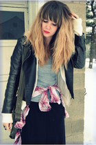 black worn as skirt Old Navy dress - dark gray Forever 21 jacket - pink Forever