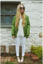 green Sheinside jacket - white necessary clothing jeans - white Sheinside shirt