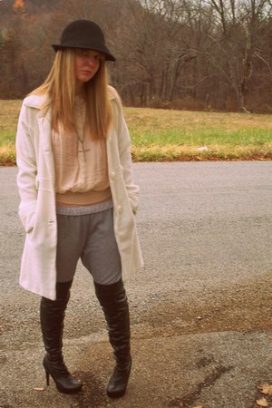 neutral Forever 21 blouse - heather gray Walmart pants - black Forever 21 boots