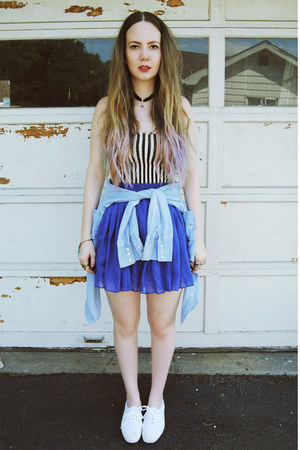 blue gifted OASAP skirt - sky blue gifted Sheinside shirt