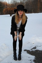 black sam edelman boots - black vintage hat - black vintage sweater
