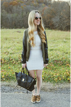 white windsor dress - tawny Steve Madden shoes - army green Guess jacket