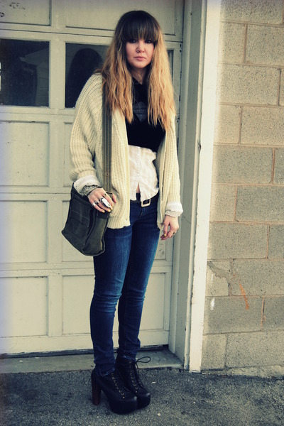 black litas Jeffrey Campbell shoes - cream vintage sweater - black diy crop stol