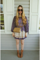 camel Urban Outfitters boots - purple Tunnel Vision dress - camel Chanel bag