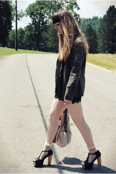 black Jeffrey Campbell shoes - army green c-o Shop The Far Out jacket - camel wh