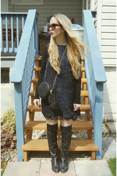 black shoemint boots - navy 6ks dress - black Zara shirt - black Nasty Gal bag