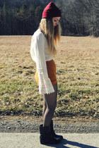 ivory Lucky Brand blouse - black sam edelman boots - crimson Ebay hat
