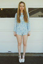 light blue gifted Motel romper - white wildfox Jeffrey Campbell shoes