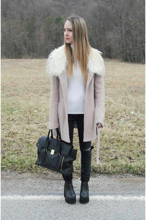 black Missguided boots - light pink Somedays Lovin coat - white lulus shirt