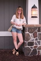 white H&M shirt - blue abercrombie & fitch shorts - beige Steve Madden shoes - b