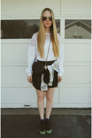 black Nasty Gal bag - eggshell Elizabeth and James shirt - black Sheinside skirt